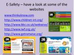 e safety have a look at some of the websites