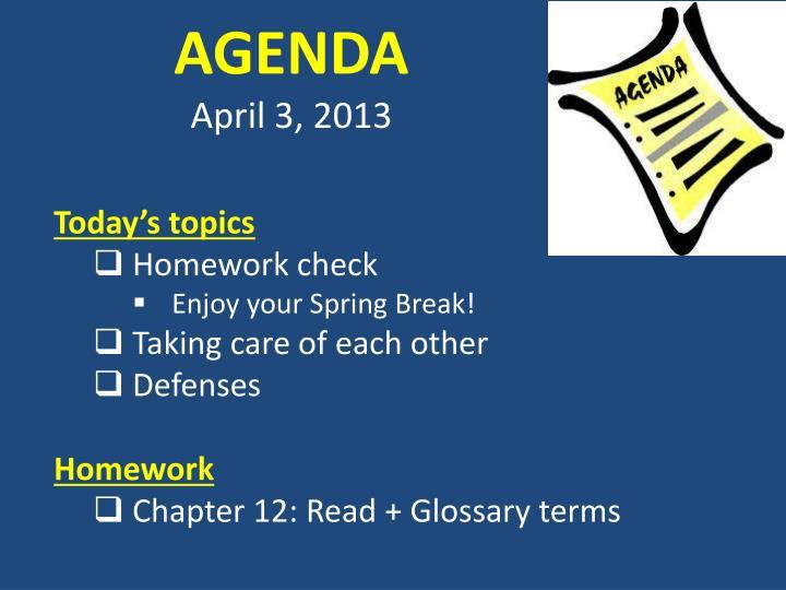 Agenda april 3 2013