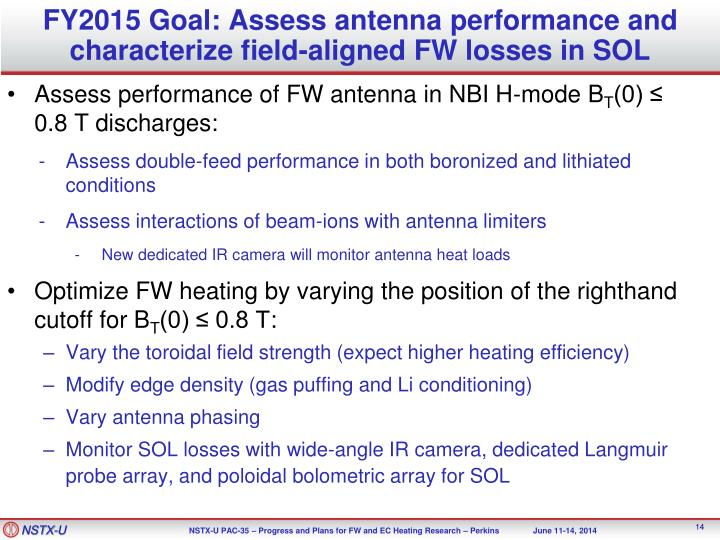 FY2015 Goal: Assess antenna performance and
