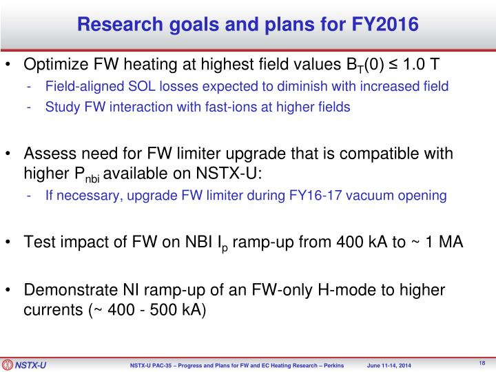 Research goals and plans for FY2016