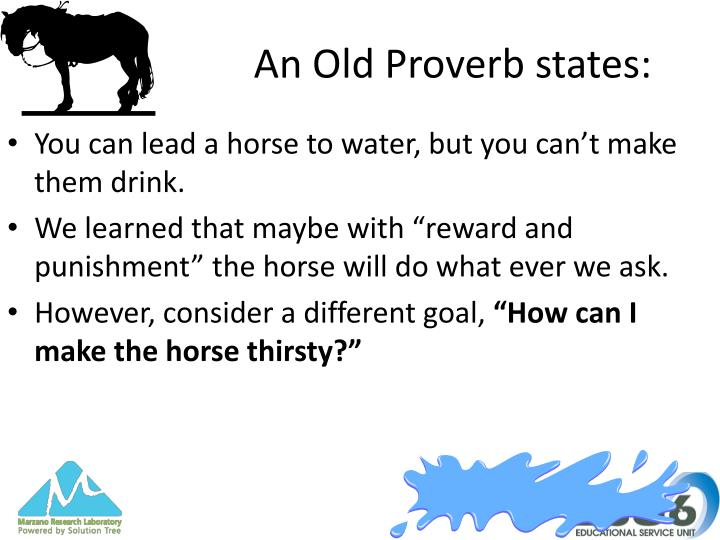 An Old Proverb states: