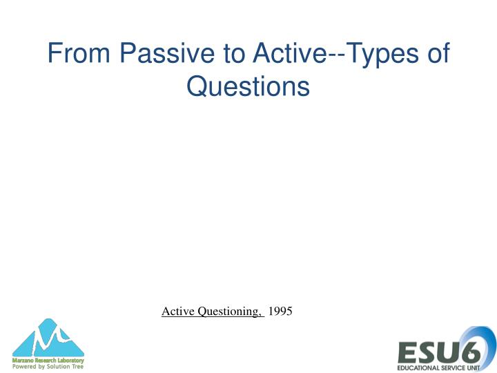 From Passive to Active--Types of Questions