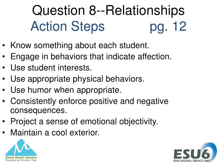 Question 8--Relationships