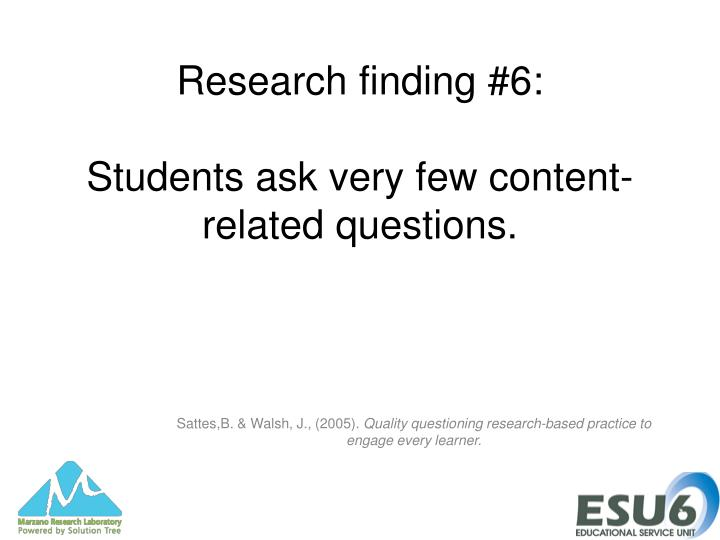Research finding #6: