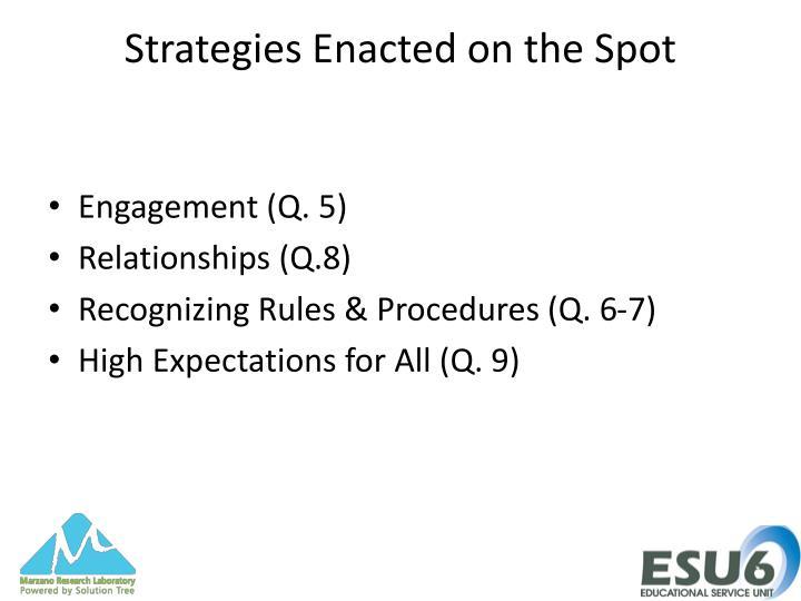 Strategies Enacted on the Spot