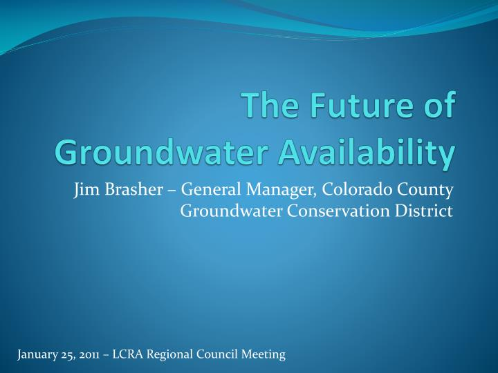 the future of groundwater availability n.