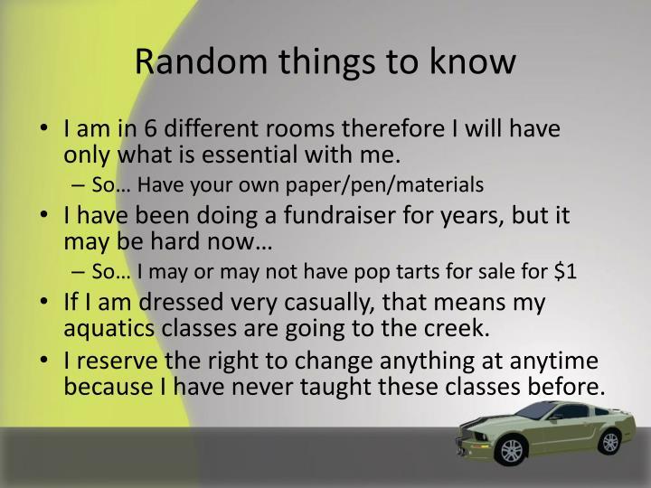 Random things to know