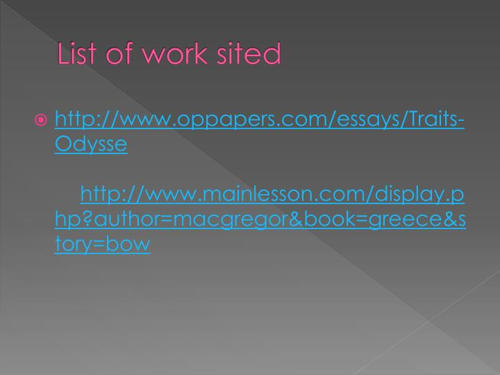 ppt  odysseus powerpoint presentation  id list of work sited