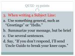 quiz 15 points