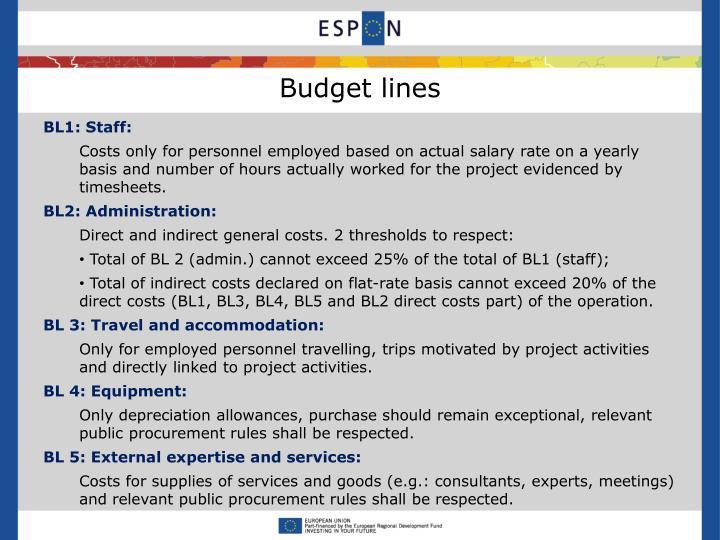 Budget lines