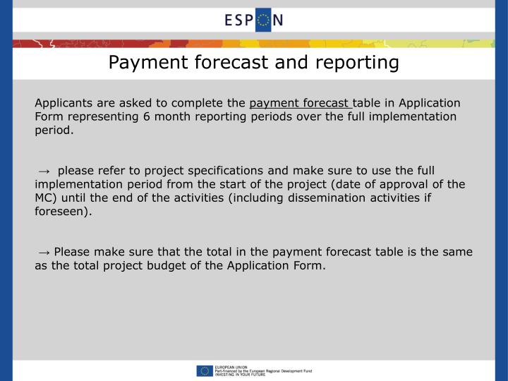 Payment forecast and reporting