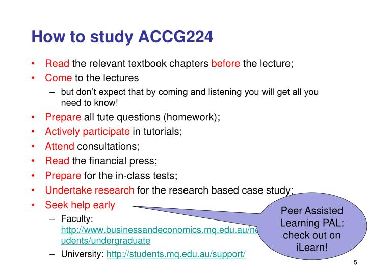 accg224 presentation slides Here is the best resource for homework help with accounting accg224 at   week 10 lecture notesppt macquarie accounting accg224 - spring 2010.