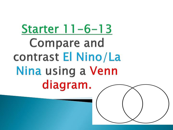 Ppt Starter 11 6 13 Compare And Contrast El Ninola N Ina Using A