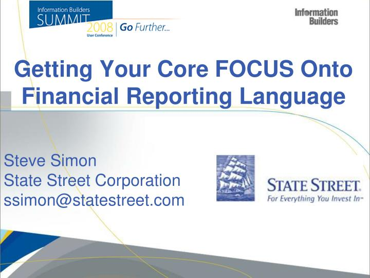 getting your c ore focus onto financial reporting language n.