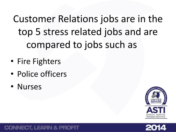Customer relations jobs are in the top 5 stress related jobs and are compared to jobs such as