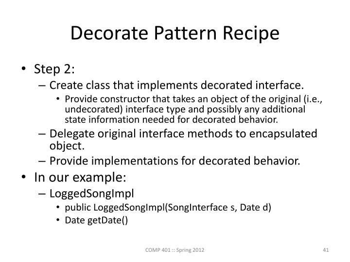 Decorate Pattern Recipe