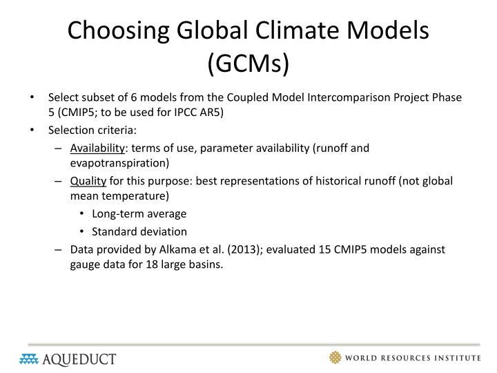 Choosing Global Climate Models (GCMs)