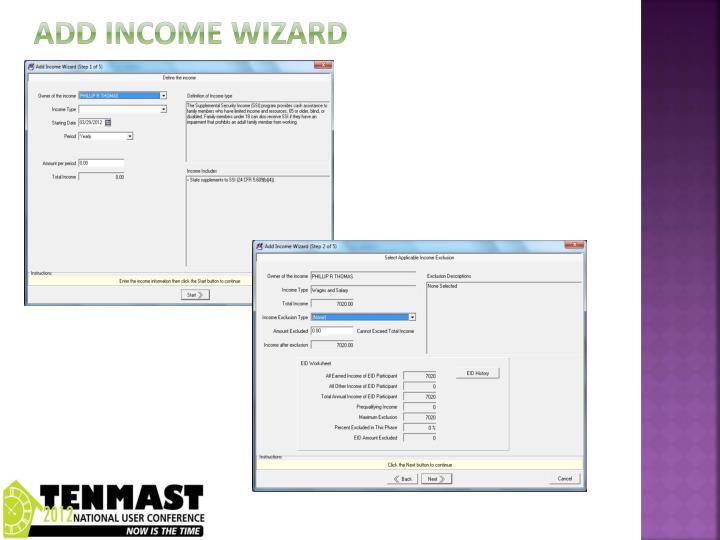 Add income wizard