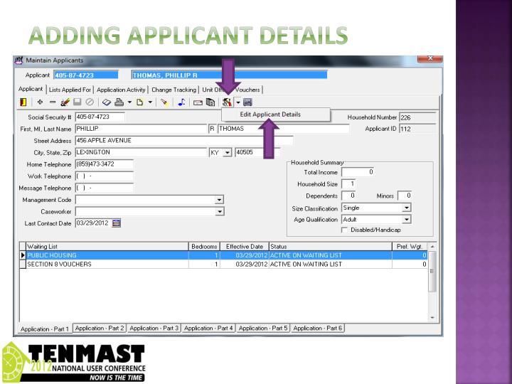 Adding applicant details
