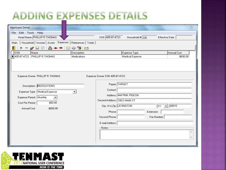 Adding expenses details