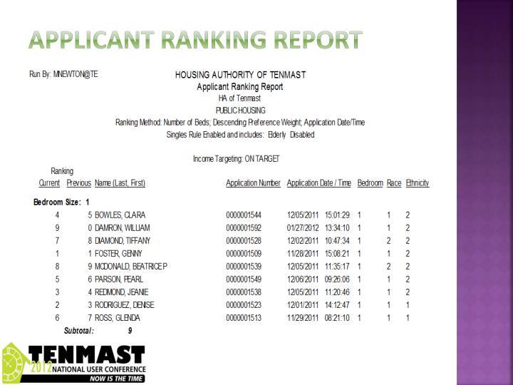 Applicant ranking report