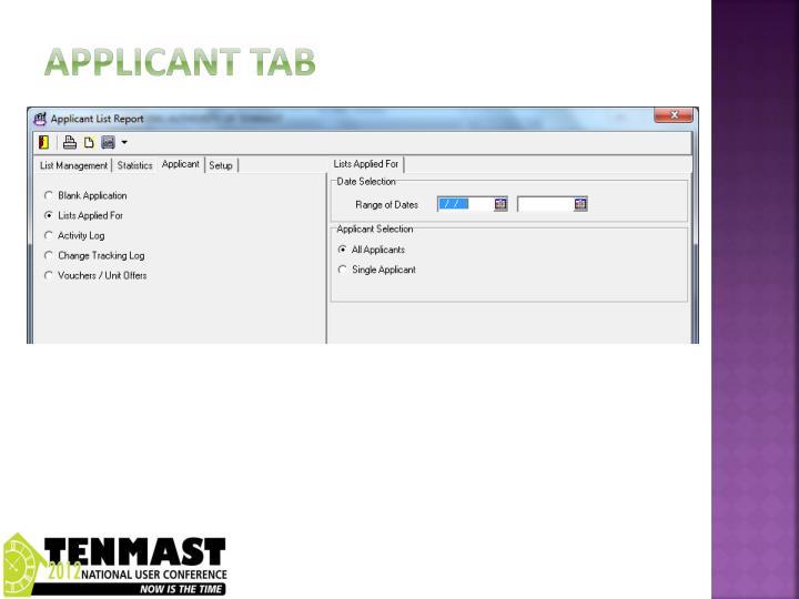 Applicant tab