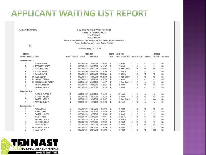 Applicant waiting list report