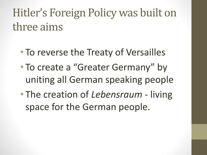 Hitler's Foreign Policy was built on three aims