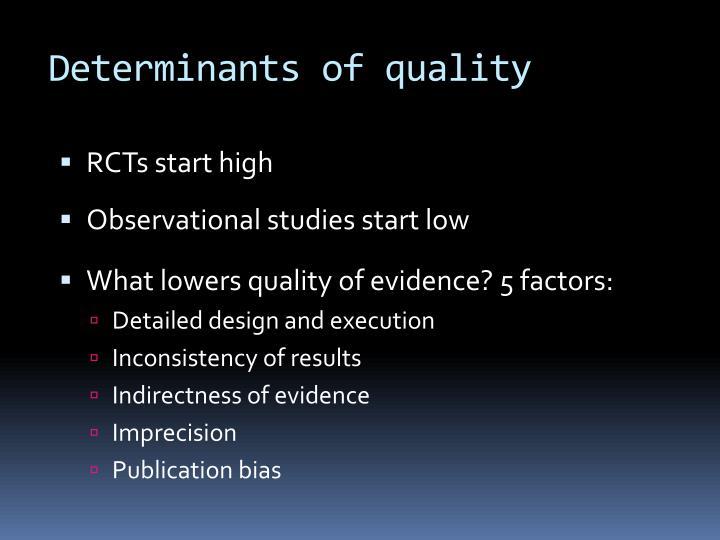 Determinants of quality