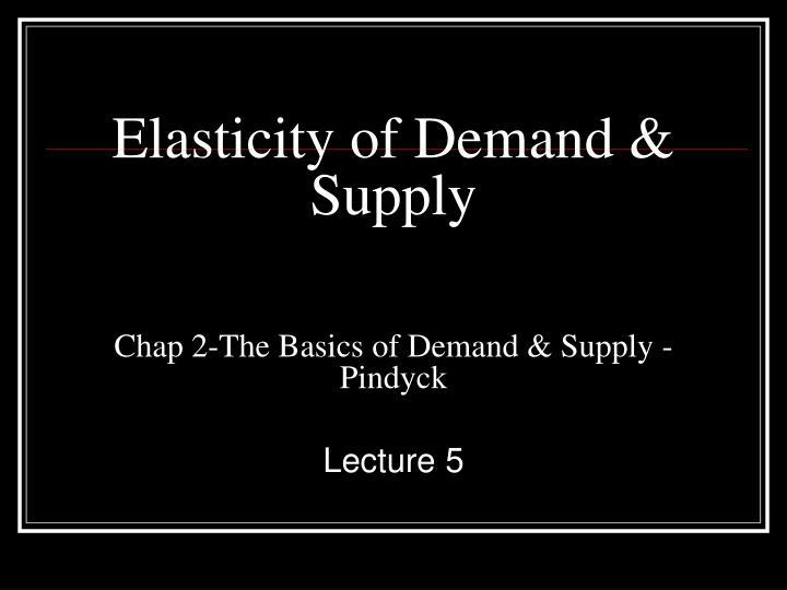 Elasticity of Demand &
