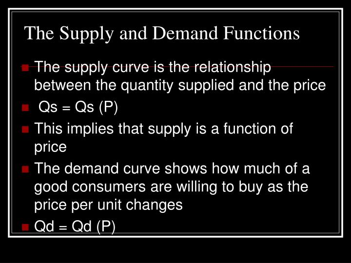 The supply and demand functions