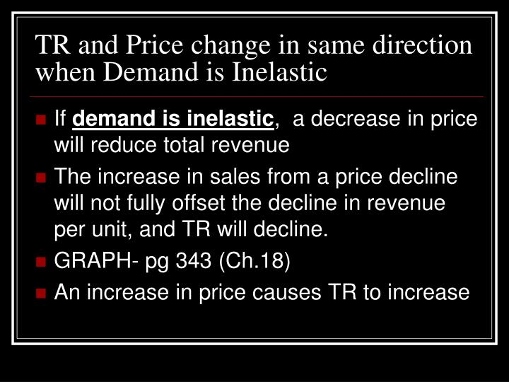 TR and Price change in same direction when Demand is Inelastic