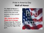 pride in america day wall of honor