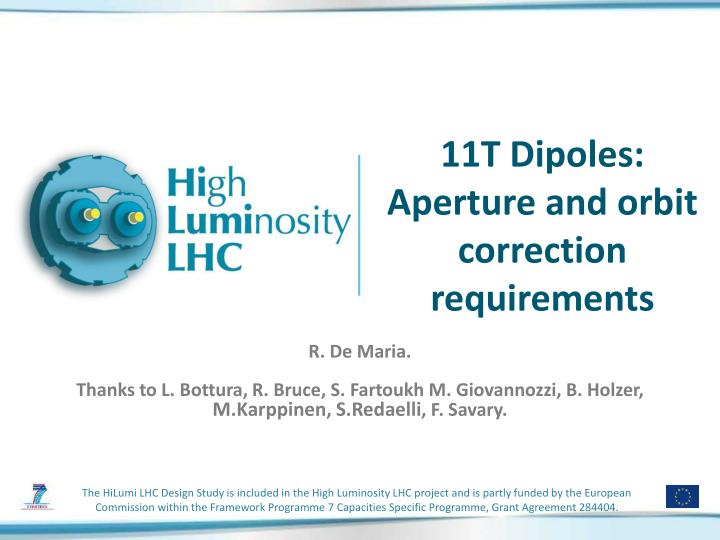 11t dipoles aperture and orbit correction requirements n.