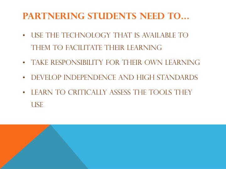 Partnering Students need to…