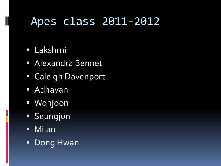 apes class 2011 2012 n.
