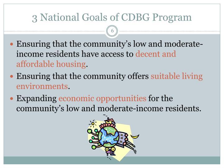 3 National Goals of CDBG Program