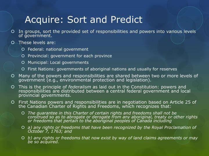 Acquire sort and predict