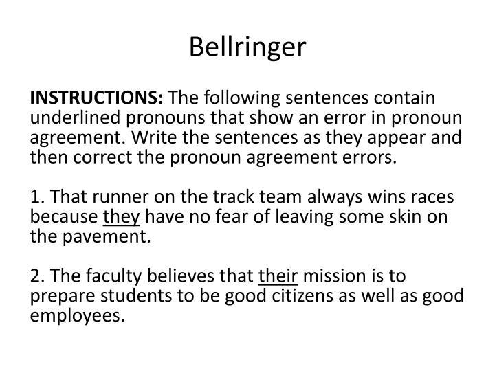 PPT Pronoun And Antecedent Agreement Bellringers