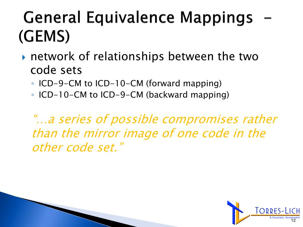 PPT - ICD-10 –CM and the Impact on Physician Practices ... General Equivalence Mapping on