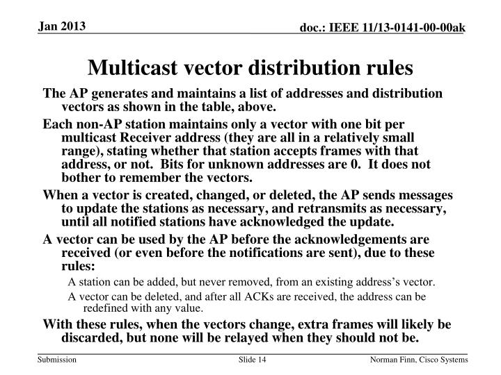 Multicast vector distribution rules