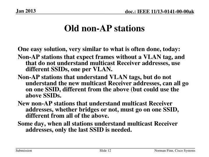 Old non-AP stations