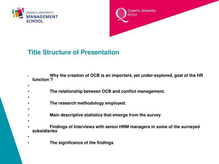 Title structure of presentation