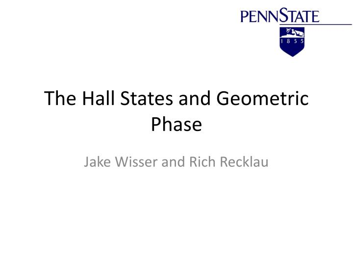 the hall states and geometric phase n.