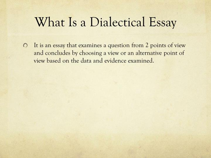 Teaching Essay Writing High School What Is A Dialectical Essay English Sample Essays also Example Of A Thesis Essay Ppt  Writing A Dialectical Essay Powerpoint Presentation  Id A Healthy Mind In A Healthy Body Essay
