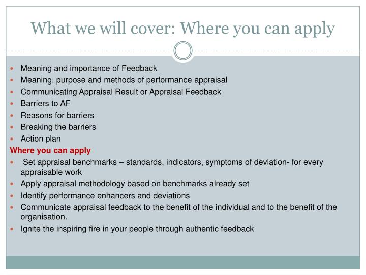 What we will cover: Where you can apply