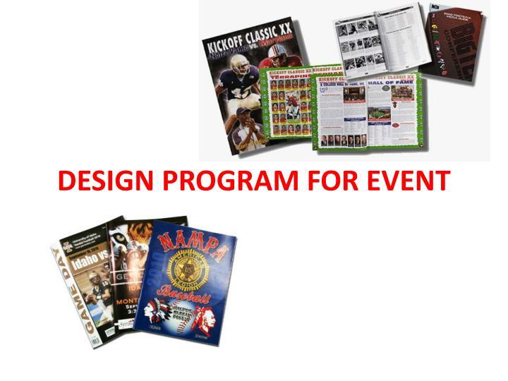 Design program for event
