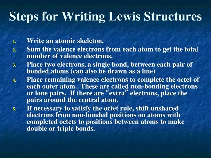 Steps for Writing Lewis Structures