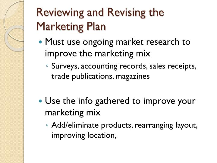 Reviewing and Revising the Marketing Plan