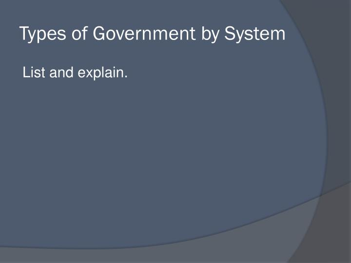 Types of Government by System